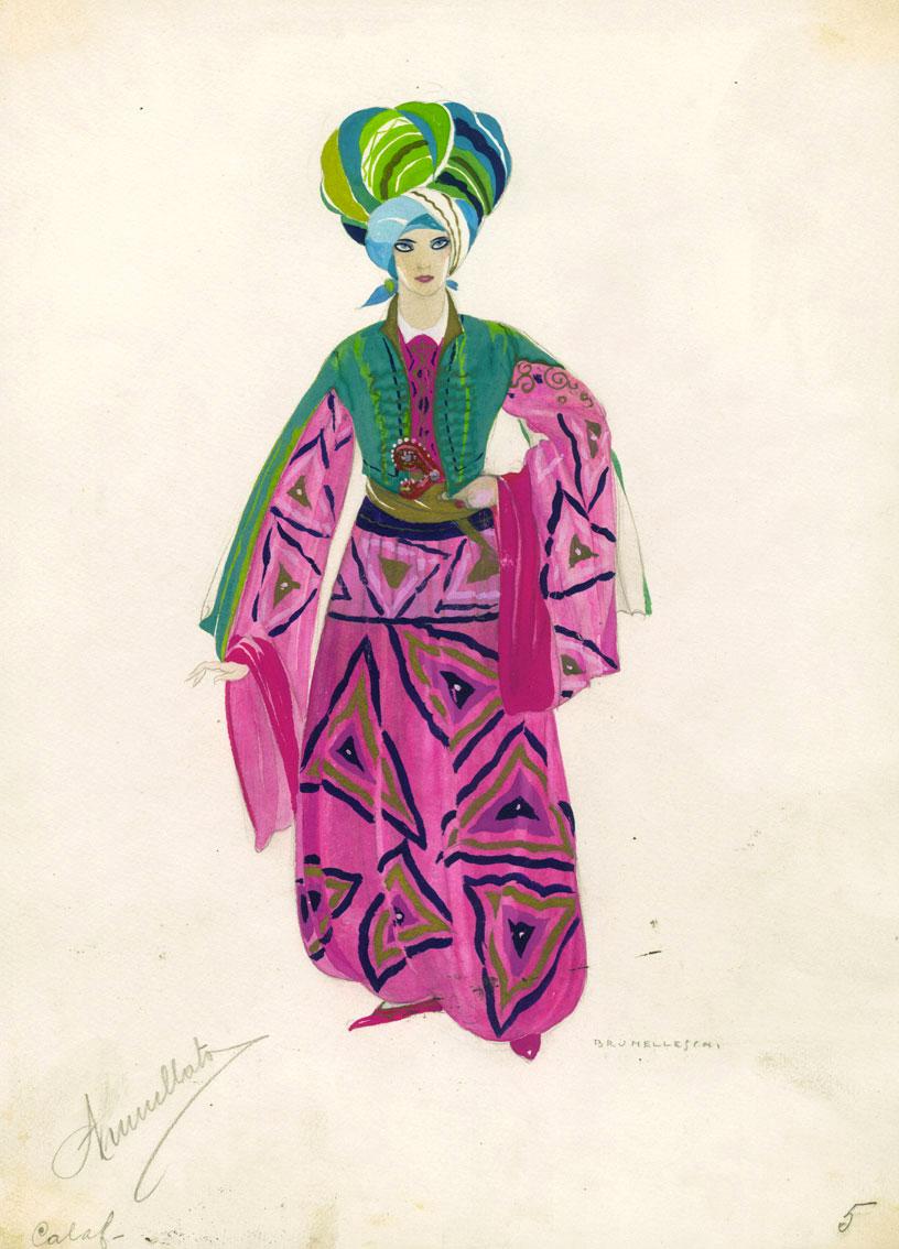 """Costume dessiné par Umberto Brunelleschi pour la production de Calaf (1926) de """"Turandot"""" au Teatro Costanzi de Rome"""