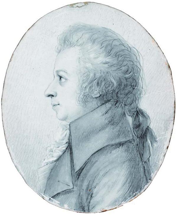 Mozart dessiné par Doris Stock (1789). L'un des rares portraits qui lui ressemblent vraiment.