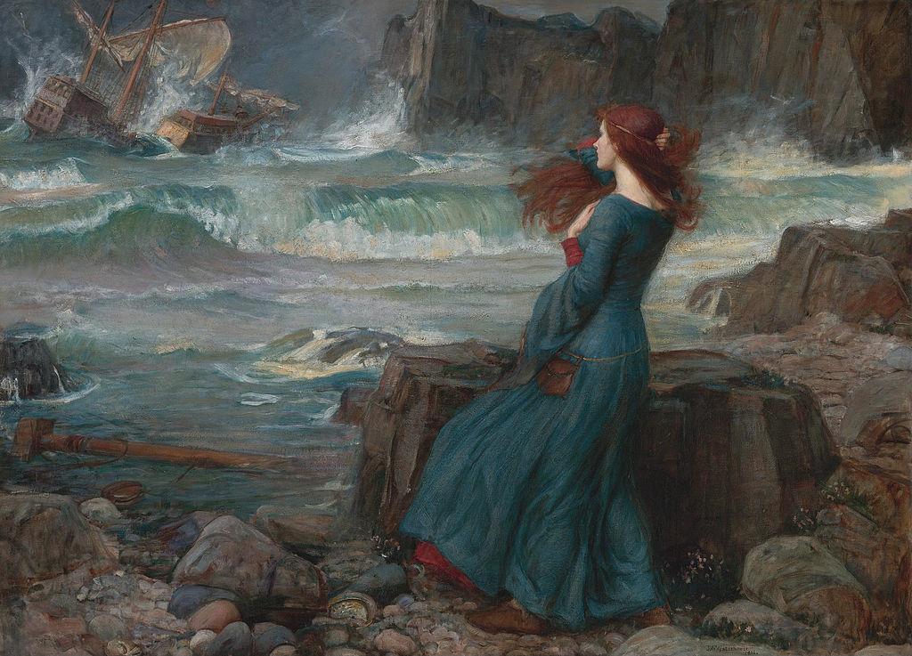 Miranda, vue par John William Waterhouse, représentant du préraphaélisme britannique