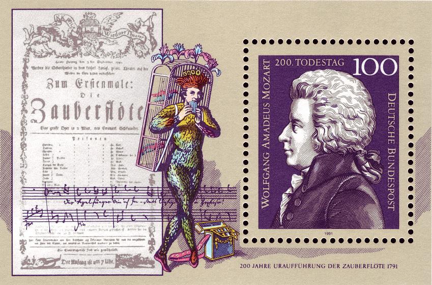 Papageno sur le timbre du 200e anniversaire de la mort de Mozart à côté de l'affiche de la première représentation de la Flûte enchantée.