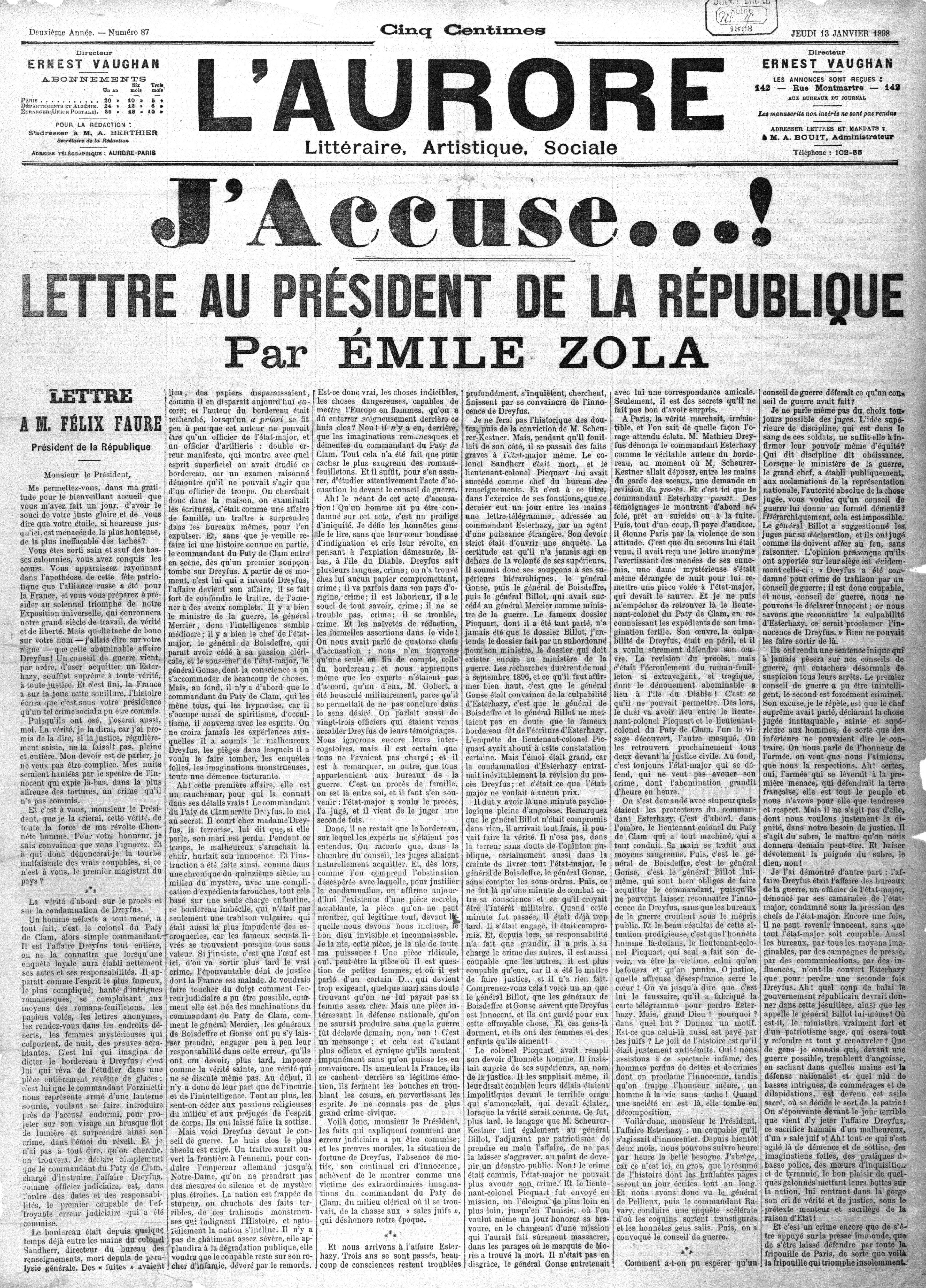 """Première page du journal """"L'Aurore"""" du 13 janvier 1898 titrant """"J'accuse ... !"""" : lettre adressée par Emile Zola au Président de la République dans le cadre de l'affaire Dreyfus pour prendre la défense de l'accusé"""