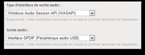 Les options de lectures ASIO WASAPI DirectSound... et le choix du DAC