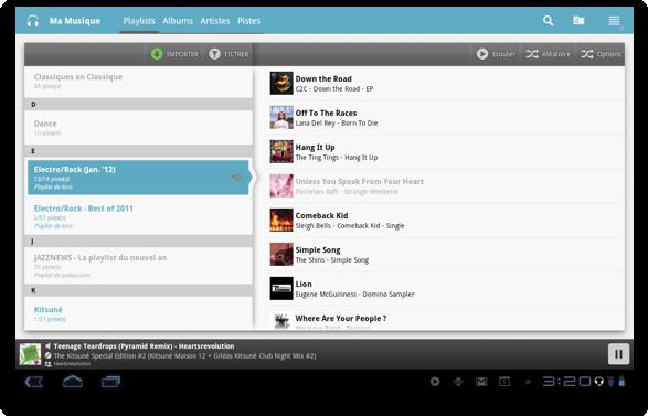 Qobuz Mobile android : Ma Musique sur tablette